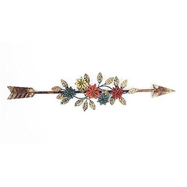 Metal Flower-Embellished Arrow Wall Decor