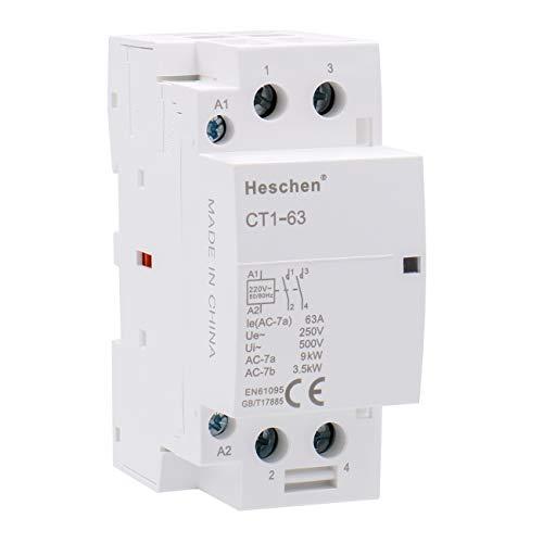 Heschen Contactor de CA del hogar CT1-63 Ie 63A 2 polos dos...