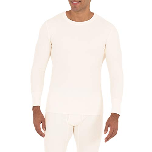 Fruit of the Loom Men's Recycled Waffle Thermal Underwear Crew Top (1 and 2 Packs), Natural, Large