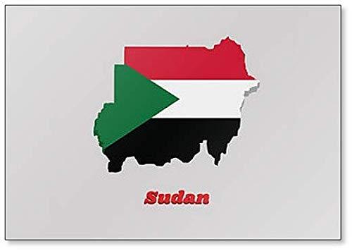Kühlschrankmagnet, Motiv Karte & Flagge des Sudan