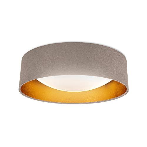 B.K.Licht I LED Stoff Deckenleuchte I Taupe-Gold I 18W LED Platine I 2.200lm I 4.000K neutralweiße Lichtfarbe I Stofflampe I 40cm