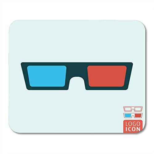 Mauspads Abstrakt Blau Film 3D Brille Kino Brille Symbol Rot Stereo Karton Mauspad für Notebooks, Desktop-Computer Mausmatten, Büromaterial