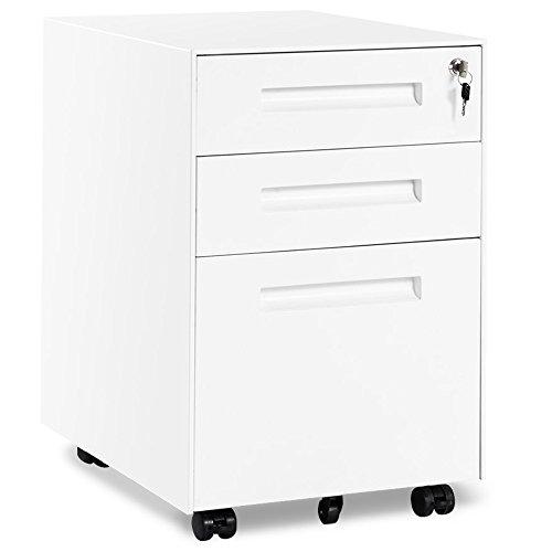 Merax Rollcontainer inkl 3 Schübe Grundsolide Verarbeitung Optimal für Schreibtisch Büromöbel Schreibtischcontainer Rollkontainer mit Schubladen für A4 Hängeregistratur (Weiss )