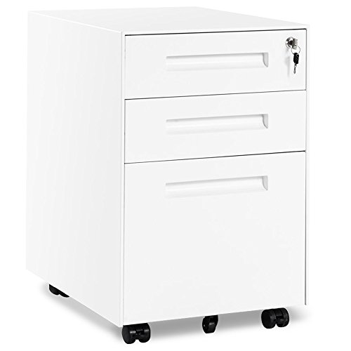 Merax Rollcontainer inkl 3 Schübe Grundsolide Verarbeitung Optimal für Schreibtisch Büromöbel Schreibtischcontainer Rollkontainer mit Schubladen für A4 Hängeregistratur (Weiss B)