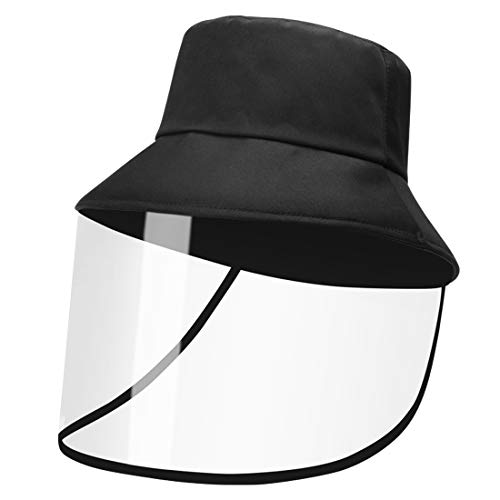 fancyfree Fashion Fishman Visor with Removable TPU Cover,Sun Hat Visor with Transparent Shield for Women and Men (Black)