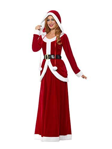 Smiffy's - Dames Deluxe Miss Santa Claus kostuum, jurk met capuchon en riem, rood
