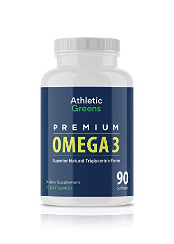 Athletic Greens Omega 3 Fish Oil - 1,300mg Per Serving - 672mg EPA and 448mg DHA Per Serving - 100% Sourced from Wild Caught Small Fish (90) (90 Count)