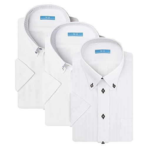 (アトリエ 365) ワイシャツ 半袖 3枚セット レギュラー 白 クールビズ イージーケア 形態安定 Yシャツ ビジネス ビジカジ/at-ms-set-1172-3f-ats-L-41-Dset-3s-21ss