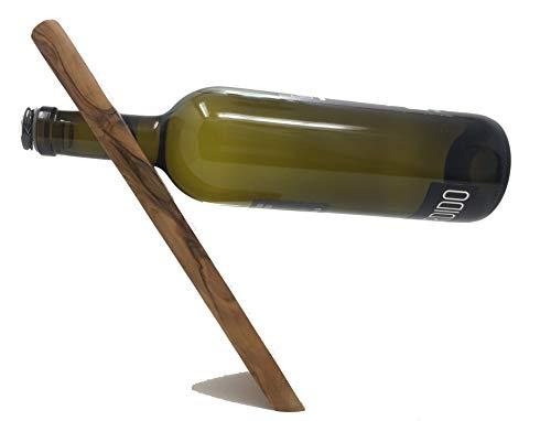 Handgemachter Weinhalter aus Olivenholz handgefertigt auf Mallorca exklusives Produkt schwebende Flasche