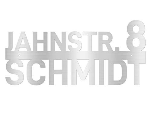 Hausnummer Wandschild Edelstahl personalisiert mit Name, Straße & Hausnummer
