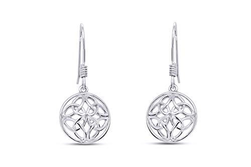 Celtic Knot Round Drop Earrings In 14K White Gold Over Sterling Silver