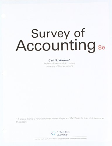 Bundle: Survey of Accounting, Loose-Leaf Version, 8th + CengageNOWv2, 1 term Printed Access Card