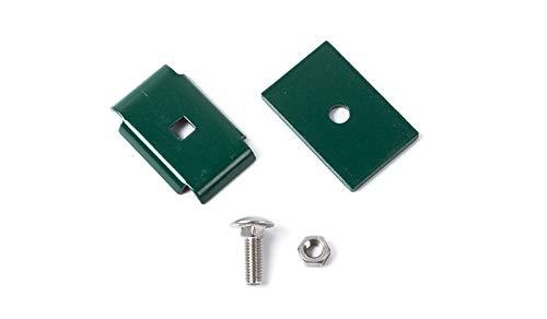 Mattenverbinder/Verbindungs-Klammern/Eckverbinder aus verzinktem, grün (RAL 6005) pulverbeschichtetem Stahl zum Verbinden von Doppelstabmatten mit Einer Drahtstärke von 8/6/8 mm ohne Zaun-Pfosten.