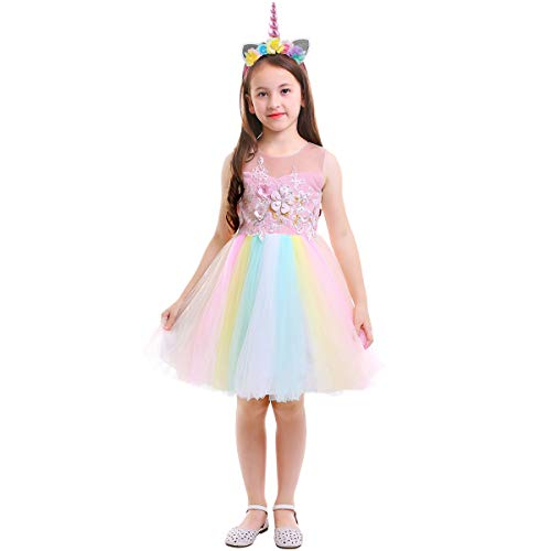 Costume da Principessa Unicorno per Bimba Compleanno Ballerina Abiti Bambini Carnevale Halloween Cosplay Abito Arcobaleno Festa Cerimonia Nozze Sera Pageant Battesimo 4-5 Anni