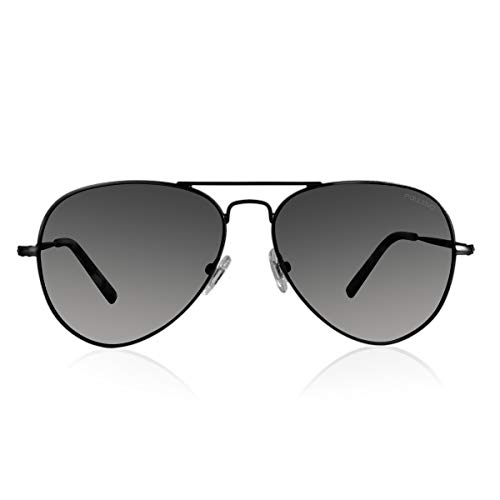 fawova Gafas De Sol Aviador Hombre Mujer Polarizadas Negro/Verde/Gris/Marron/Espejado/Oro Rosa, Conducir, Pescar, Golf, Correr, UV400, Cat.3,58mm (Negro Mat, Gris degradado)