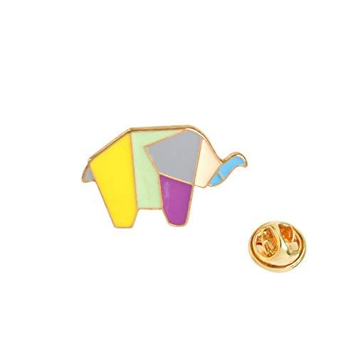 JTXZD broche Origami papier vouwen dier emaille revers pin tangram haas beer walvis ontwerp
