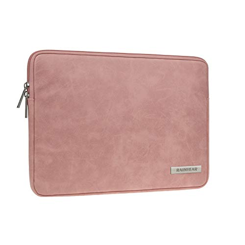 RAINYEAR 11 Inch Laptop Sleeve PU Suede Leather Case Protective Padded Cover Water Resistant Carrying Bag Compatible with 11.6 MacBook Air Surface for 11' Notebook Computer Tablet Chromebook(Coral)