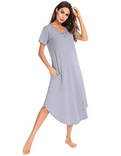 Aibrou Damen Nachthemd Nachtkleid Baumwolle Nachtwäsche Kurzarm Sommer Freizeitkleid Negligee Sleepshirt Sleepwear mit V-Ausschnitt Grau L