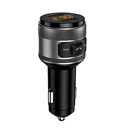 nJiaMe Flash Drive Negro Bluetooth Transmisor FM de Radio inalámbrica de Coches Reproductor de mp3 C57 Adpater de Carga rápida USB Compatible para el teléfono
