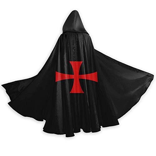 Amanda Walter Capa con Capucha de Navidad Negra Templar Cruzada Medieval Brillante de Cuerpo Entero Capa de Fiesta de Disfraces de Halloween para Hombres Mujeres