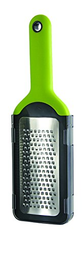 Simposh Coarse Grater - Green/Gray Handheld to grate/zest citrus fruit vegetable spice ginger garlic cheese chocolate. Sharp Stainless Steel Blade, Soft Ergonomic Handle, Safety Cover Food Container