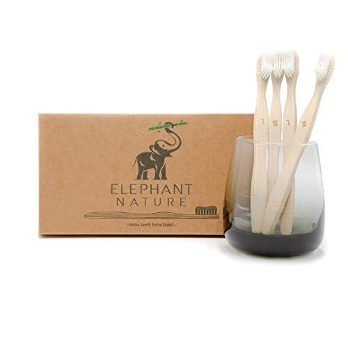 Elephant Nature tandenborstels van bamboe, 4 stuks, plantaardig, BPA-vrij, biologisch afbreekbaar, witte en zachte…