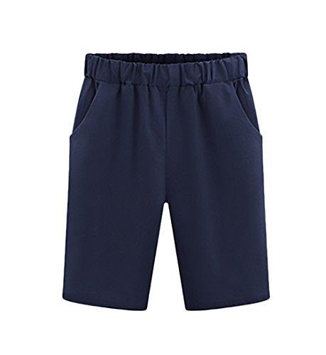 Bermudas Mujer Verano Moda Color Sólido Casual Anchos Cintura Elastica Plus Size Pantalones Cortos Shorts Tallas Grandes