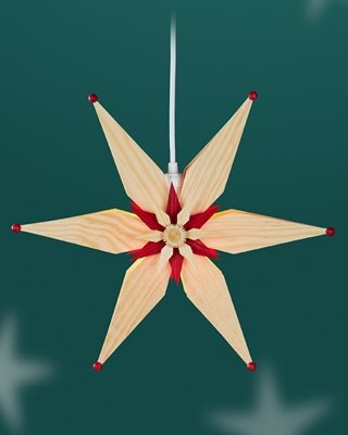 Raamster met elektrische verlichting, natuur/rood – ster – van grenenbladeren – raamdecoratie – raamdecoratie – lichtster – Ertsgebergte – diameter 34 cm – nieuw