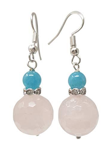 TreasureBay - Pendientes colgantes de cuarzo rosa y ágata azul para mujer
