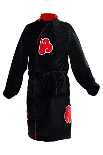 prettycos Erwachsene Naruto Bademantel Uchiha Itachi Bademantel Flanell Anime Cosplay Kostüm Pyjama Gr. L, Schwarz