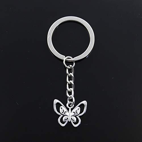 XHYKL dubbele ring leeg vlinder 17 x 21 mm sleutelhanger 30 mm ketting metaal zilver heren auto cadeau sleutelhanger souvenir