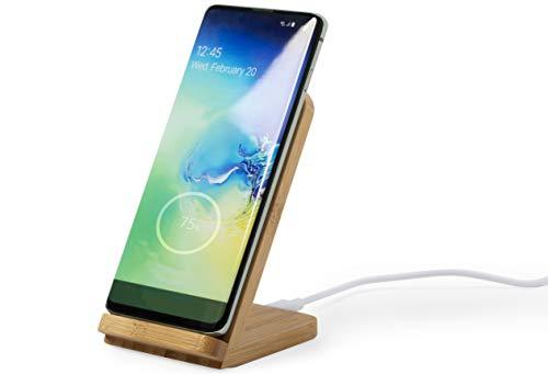 MKTOSASA - Qi 5W Wireless Charger aus Bambus. Drahtloses Ladegerät mit Standfunktion für Smartphones und Leuchtanzeige. Kompatibel mit Allen Smartphones mit Kabellosem Qi-Laden - 7x11,5x8
