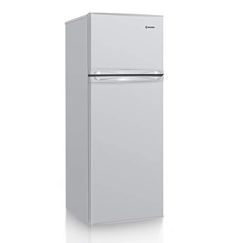 MOOSOO Compact Refrigerator, 7.3 Cu.Ft Dual Door Fridge with Freezer, 7 Adjustable Temperature, Removable Shelves, Ultra-Quiet Silencer, Ideal Food and Drink Storage (White)