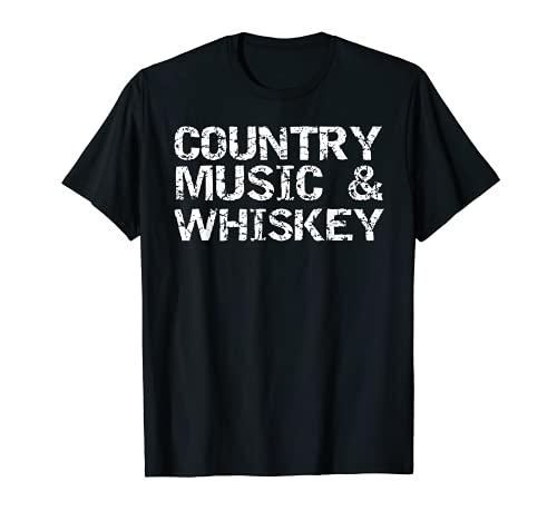 Regalo de país vintage para hombres divertido música country y whisky Camiseta