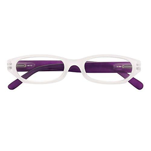 Gafas de vista premontadas 68514 con potencia +2.00 de color blanco y morado