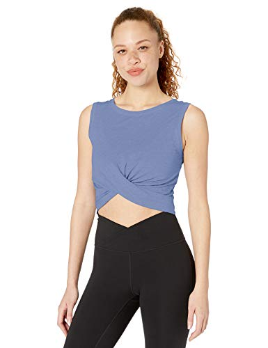 Core 10 Pima Cotton Blend Knot Front Cropped Tank Yoga Shirt, Hellblau Gebleicht, XL