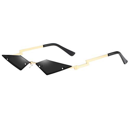 chiwanji Gafas de Sol de Ojo de Gato Delgadas para Mujer, Lentes Tintadas, Sin Montura, Gafas, Ropa de Calle - Oro + Negro