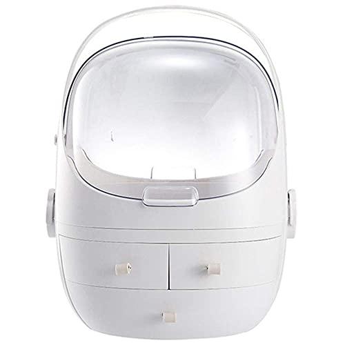 Hesily Organizador de Maquillaje, Vitrina cosmética de Gran Capacidad con asa, diseño a Prueba de Polvo e Impermeable, para baño, tocador, tocador y encimera