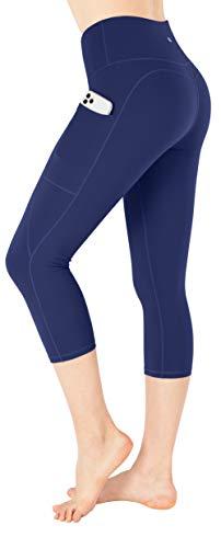 ESPIDOO Yoga Pants for Women, High Waist Tummy Control, 4 Way Stretch Capri Leggings with Pockets, XS