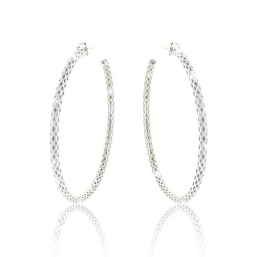 PAVEL´S Creolen ELEGANCE Ohrringe Reifen 60mm gedreht aus reinem Silber 925 mit Stecker inkl. hochwertigem Leder Etui mit Glanzbeutel und Echtheits-Zertifikat