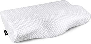 ZAMAT Contour Memory Foam Pillow for Neck Pain Relief, Adjustable Ergonomic Cervical Pillow for Sleeping, Orthopedic Neck Pillow with Washable Cover, Bed Pillows for Side, Back, Stomach Sleepers by ZAMAT