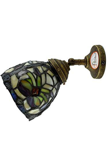 fd-bolletta arredamento e illuminazione applique da parete interni,applique vintage con paralume,vetro tiffany an5 Misure: Sporgenza circa 21cm, Ø paralume 12cm, Ø base 8cm