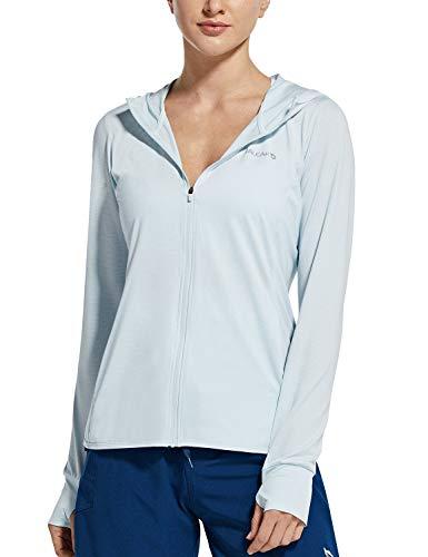 BALEAF Damen UV SPF UPF 50+ Shirt mit Kapuze Sonnenschutz Langarm Shirt Kapuzenjacke mit Reißverschluss Sun Hoodie mit Daumenloch hell Blau M