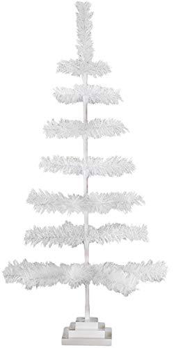 3FT Classic White Christmas Tree White Tinsel White Feather 36'' Tree Vintage Retro Tabletop Centerpiece Christmas Merchandising Retail Display Tree