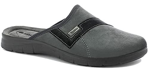 inblu BG000042 Grigio Ciabatte Pantofole Uomo Invernali Sottopiede Soft, Vera Pelle, ANATOMICO, Zeppa 2 CM