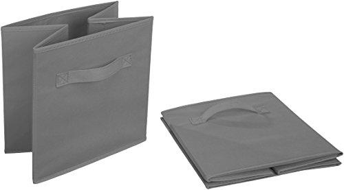 AmazonBasics Foldable Storage Bins Cubes Organizer, 6-Pack, Gray