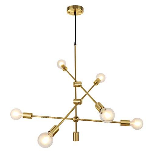 LynPon Moderno Sputnik Lámparas de araña, 6 Luces Iluminación colgante de techo, Latón Dorado Fixture para la Cocina, Comedor, Dormitorio, Café, Bar