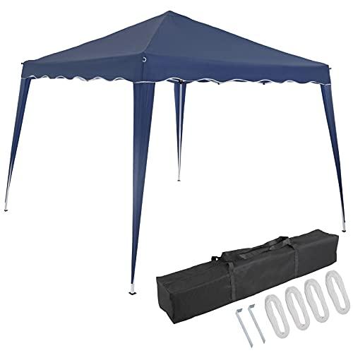 Deuba Gazebo da Giardino Capri 3x3m Pop-Up Protezione 50+ Impermiabile Tenda a Fisarmonica Blu