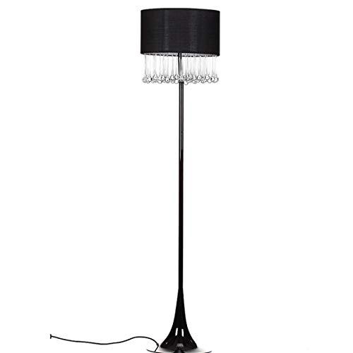 Onbekende staande lamp met zwarte kap en oorbellen 163 cm hoog x 38 cm sokkel - onmiddellijke verzending uit Spanje