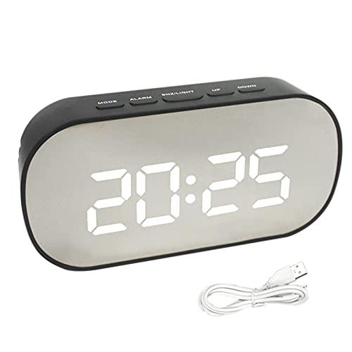 DSFSAEG Sveglia digitale a LED, sveglia digitale a specchio, orologio da tavolo, cavo USB, sveglia sottile, sveglia digitale, display a LED, specchio alimentato a batteria, stile casa, comodino (nero)